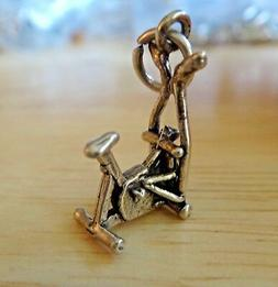 1 Sterling Silver 3D 20x12mm Exercise Bike Bicycle with upri