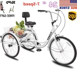 7 speed shimano 24 3 wheel tricycle