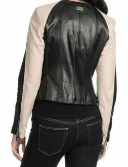 Vince Camuto Colorblock Motorcycle Fitted Napa Leather Cropp