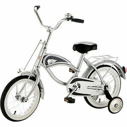 """Morgan Cycle 14"""" Cruiser Bicycle with Training Wheels, Silve"""