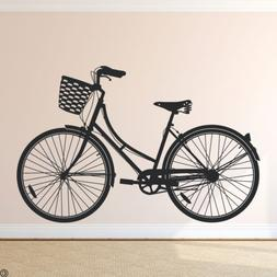 Cruiser Bike Wall Decal Women's Bicycle with Basket wall art