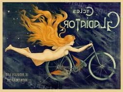 Cycles Gladiator Vintage Style 1895 Art Nouveau Bicycle Post