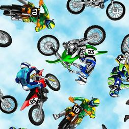 Extreme Sports Dirt Bike Sky Cloud Biker Cotton Fabric BTHY