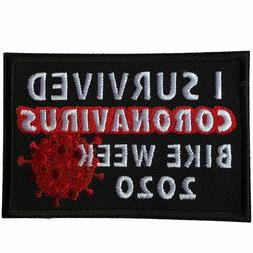 """I Survived Bike Week 2020 Pandemic Embroidered 3"""" x 2"""" Patch"""