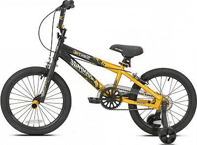 18 Bike with Removable Wheels GoldBlack Steel Frame