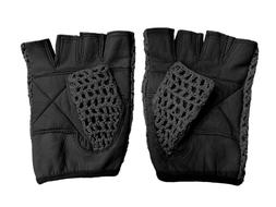 Leather Crochet Cycling / Bicycle Gloves - Vintage    Black