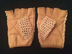 Leather Crochet Cycling / Bicycle Gloves - Vintage    Britis