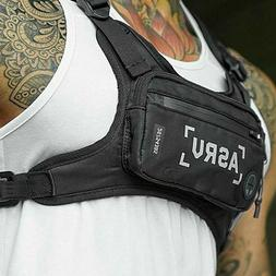 Men Tactical Front Chest Rig Bag Nylon Pouch Outdoor Sport W