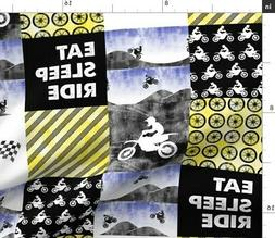 Motocross Patchwork Dirt Bike Yellow Fabric Printed by Spoon