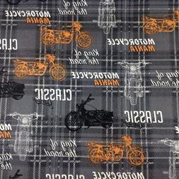 motorcycles harley classic garage cotton fabric fq