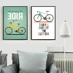 Nordic Bicycle Quote Poster Minimalism Wall Art Canvas Print