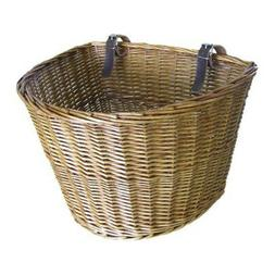 Retro, Handmade, Wicker Bicycle Front Basket with Leather St
