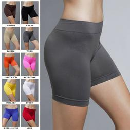 Seamless Stretch Bike Shorts Solid Colors Spandex Workout Ba
