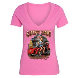 Three Wheels Motorcycle Tshirt Vehicle USA Blonde American G