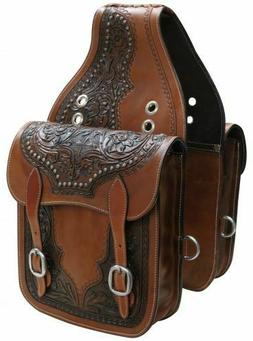 WESTERN HORSE SADDLE BAG OR MOTORCYCLE Features Floral Desig