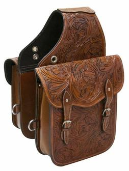 WESTERN HORSE SADDLE BAG OR MOTORCYCLE Features Tooled Leath